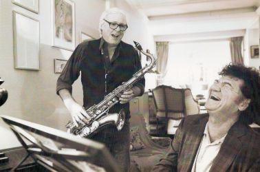 Robert Charlebois et moi pendant l'enregistrement de mon dernier album